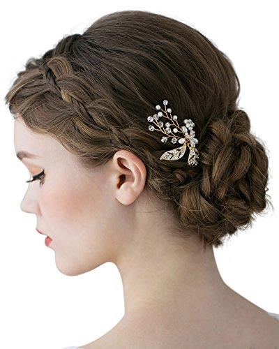 SWEETV Damen Haarschmuck Perlen Haarzusätze Haarblumen Haargesteck Haarnadeln Strass Diadem Braut Kopfstücke Schmuck Kopfstücke
