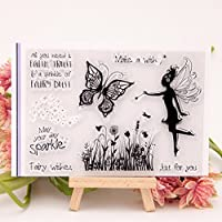 yhdcc44 Fairy Butterfly Transparent Silicone Clear Rubber Stamp, Diary Scrapbooking DIY