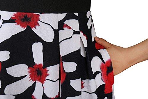 Blumendruck kleid, VLUNT Sommerkleid Knielang 3/4-Arm Strandkleid Damen Casual Kleid Schwarz