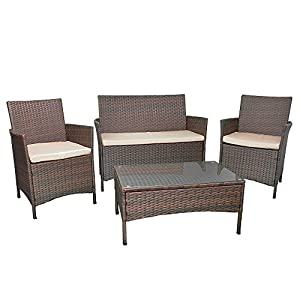 514mQmZKKNL. SS300  - Rattan 4 Seater Furniture Garden Patio Conservatory Traditional Set