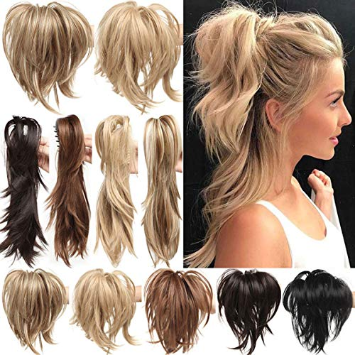 Parrucca per capelli a coda di cavallo, con clip, con 3 clip flessibili, capelli sintetici, lisci, soffici, stile personalizzabile