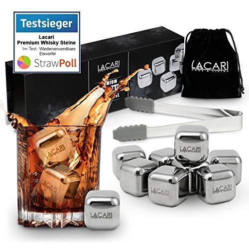 TESTSIEGER: SEHR GUT - Lacari ® [8x] Wiederverwendbare Edelstahl Eiswürfel - Inkl GRATIS Zange, Stoffbeutel und Ebook - Kein Verwässern von Getränken mehr