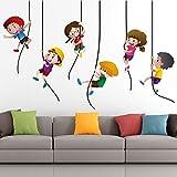 StickMe 'Kids Playing Climbing Up The Rope Wall Sticker' - SM 329 ( PVC Vinyl - 100cm X 65 Cm )