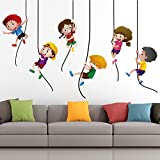 #7: StickMe 'Kids Playing Climbing Up The Rope Wall Sticker' - SM 329 ( PVC Vinyl - 100cm X 65 cm )