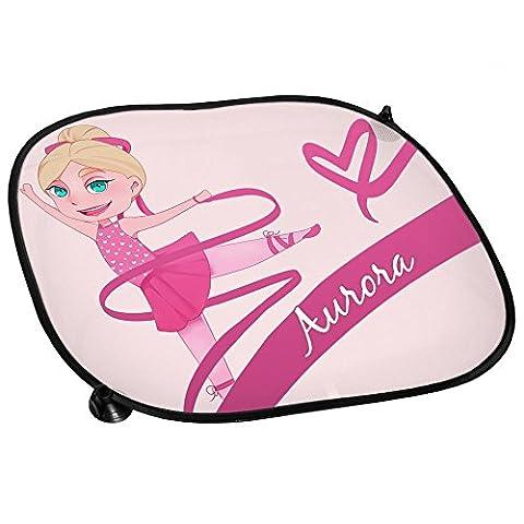 Auto-Sonnenschutz mit Namen Aurora und schönem Motiv mit Tänzerin für Mädchen | Auto-Blendschutz | Sonnenblende | (Kind Aurora Ballerina)