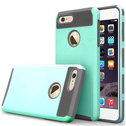ibarbe iPhone 7Plus Fall, iPhone 8Plus Fall, Slim Fit Shell Gummi Hard Kunststoff Full Schutz Kratzfest Resistent Schutzhülle für iPhone 7Plus (2016)/iPhone 8Plus (2017)–Blaugrün/Grau