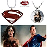 (2 Pcs COMBO SET) - SUPERMAN LOGO (RED) & WONDER WOMAN (SILVER) IMPORTED METAL PENDANTS. LADY HAWK DESIGNER SERIES 2018. ❤ ALSO CHECK FOR LATEST ARRIVALS - NOW ON SALE IN AMAZON - RINGS - KEYCHAINS - NECKLACE - BRACELET & T SHIRT - CAPTAIN