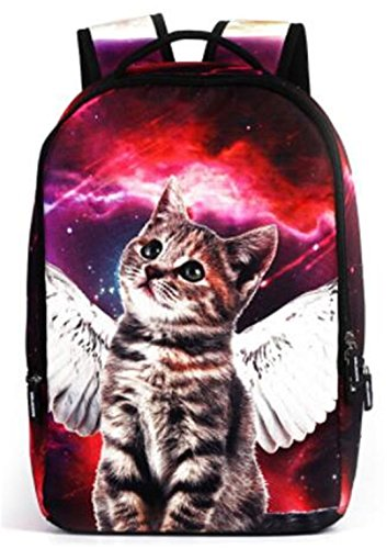 Angel cat print Frauen Rucksack Laptop Rucksack - Volcom-print-rucksack