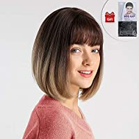 Short Straight Bob Wig GLAMADOR Brown Straight Bangs Bob Wig, Synthetic Wigs with Flat Bangs, Halloween Hair Wigs, Short Bob Haircut, Daily Use Cosplay Party Wig for Women Natural as Real 12
