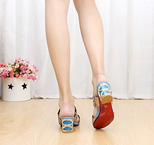 Minetom Femmes Strass Papillon Glitter Chunky Bloc Heel Peep Toe Platform Mules Sandales B bleu ciel