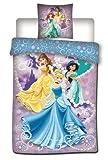 Twenty feet Disney Housse de Couette - Parure de lit Princesse 140x200 + 1 Taie - 100% Microfibre