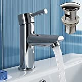 Chrome Cloakroom Basin Mixer Tap Bathroom Sink Faucet + Pop Up Waste