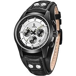 Alienwork Quartz Watch Multi-function Wristwatch vintage sport Leather white black K008GA-02