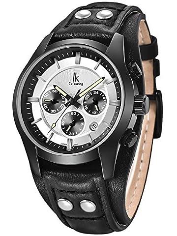 Alienwork Quarz Armbanduhr Multi-funktion Uhr Herren Uhren vintage sport Leder weiss schwarz K008GA-02
