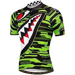 YUWELL Hombre Poliéster Ciclismo Jersey Respirable Rápido Seco con Sharp Diente Patrón de Manga Corta Jersey Verde Jersey M