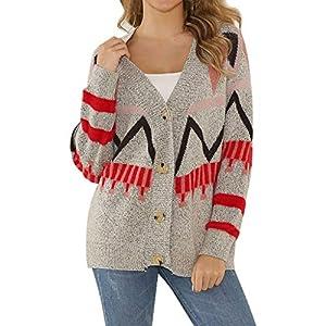 TIMEMEAN Damen Sweater Mit Knöpfen V-Ausschnitt Patchwork Gestrickte Beiläufige Lose Pullover Strickjacke