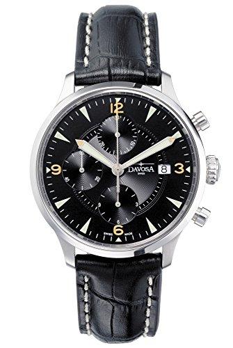 Davosa Herren Armbanduhr Automatik mit schwarzem Zifferblatt Chronograph-Anzeige und schwarzes Lederband 16147654