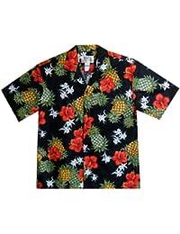KY's| Chemise Hawaïenne D'Origine | Pour Hommes | S - 8XL | Manche Courte | Poche Avant | Hawaiian-Imprimer | Ananas | Noir