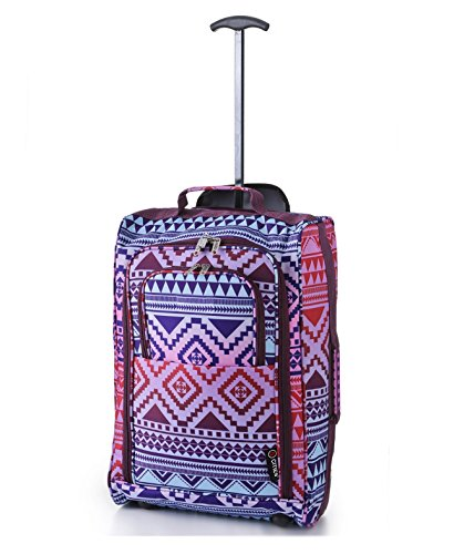 5 Cities Lightweight Hand Luggage Travel Holdall Baggage Wheely Suitcase Cabin Approved Bag