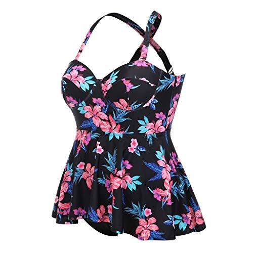 CUTUDE Damen Bikini-Sets Bikinioberteil BH Tankinis Sommer Plus Size Bandage Zweiteiliger Print Bademode Gepolsterte Push Up Badeanzüge (Schwarz, XXXX-Large) -