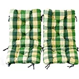 Ambientehome Juego de 2cojines acolchados para silla plegable cuadriculado, Verde, ca 90x 40x 8cm, cojín asiento
