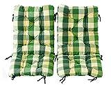 Ambientehome 2er Set Polsterauflage für Klappstuhl, kariert grün, ca 90 x 40 x 8 cm, Kissen Sitzauflage
