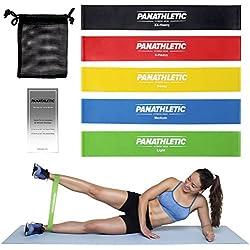 Bandas Elasticas Fitness / Cintas Elásticas de Resistencia con Guía de Ejercicios y Bolsa, Set de 5 Bandas -- juego de 5x banda elastica, cinta elástica para musculation, yoga, crossfit, entrenamiento de fuerza, pilates, fisioterapia