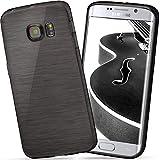 moex Samsung Galaxy S6 Edge Plus | Hülle Silikon Schwarz Brushed Back-Cover TPU Schutzhülle Ultra-Slim Handyhülle für Samsung Galaxy S6 Edge+ Plus Case Dünn Silikonhülle Rückseite Tasche
