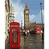 YMX DIY Family Peinture par Nombres d'impression London Rouge Cabine Téléphonique avec Brosses Décoration de La Maison pour Enfant Adulte Débutant Fantaisie 40X50CM sans Cadre