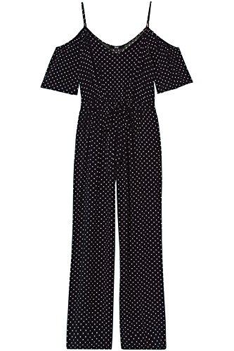 FIND Damen Gepunkteter Jumpsuit mit Schulter-Cutouts Schwarz (Black)