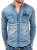 Hemd Herren Jeans Denim Hemden Herrenhemd Langarm Tazzio Druckknopfverschluss Shirt Clubwear Polo Kosmo Japan Style Look (Blau - 16-316, L)
