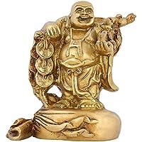 Buddismo decorazione domestica Indian Art Statua Buddha felice in ottone da 6 pollici