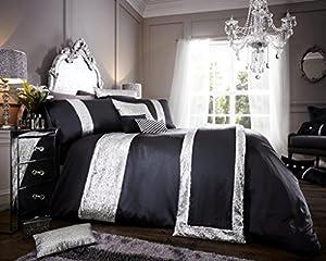 Luxury duvet cover sets with pillowcases polyester new (Glamorous Black, King Duvet Set)
