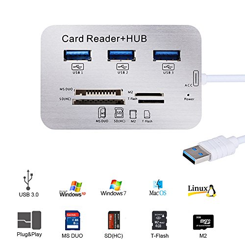 Micro USB 3.0 Kartenleser, Grehome Universal USB Hub 3 Port High Speed Externer Card Reader Kartenlesegerät mit MS, Micro SD, SD/MMC, M2, TF Card für Windows Surface Pro, iMac, MacBook, MacBook Pro