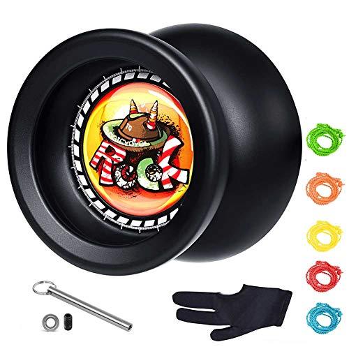 Yo yo für Kinder MAGICYOYO T9 Rock Schwarz Responsives Reagieres Yo yo + Handschuh, 5 Saiten, Lagerentferner, 10mm Schraube, KK-Lager, 8 Jahre altes Kindergeschenk -
