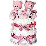 Signature Deux Étages fille rose double couche gâteau/Panier/Cadeau bébé/Cadeau de douche NEW ARRIVAL/TWIN pour bébé/Cadeau pour bébé nouveau-né mains/maternité cadeau/envoi rapide
