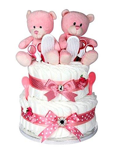 Signature Deux Étages fille rose double couche gâteau/Panier/Cadeau
