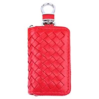 TechVibe Car Key Case, Weave Premium Leather Car Smart Key Chain Holder Metal Hook and Keyring Wallet Zipper Bag for Auto Remote Key Fob - Red