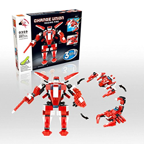 Raging Fire - Transform Roboter, Change Union Serie,0359 - 3in1 Baukasten mit 207 Teilen - Sammle alle 4 Sets und baue den Mega General