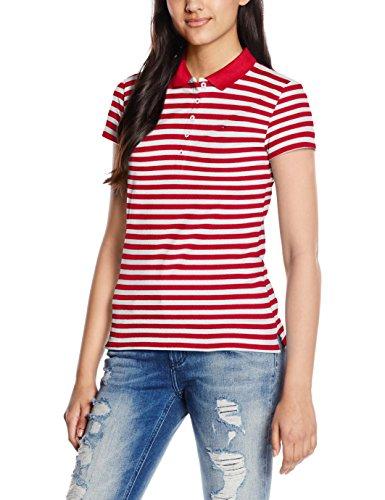 Tommy Hilfiger Damen Poloshirt 1M87650126, Rot (Crimson/Classic White 901), 42 (Herstellergröße: XL) (Shirt Damen Crimson)