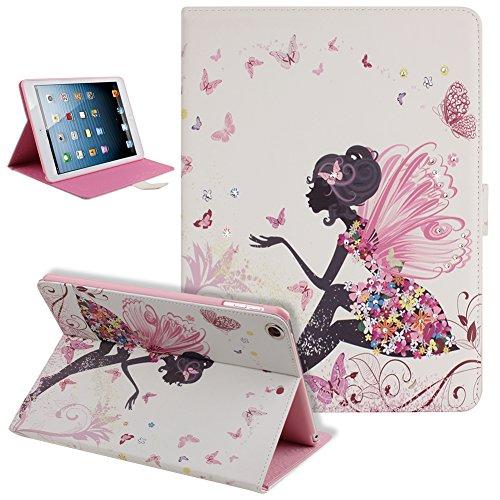 URFEDA® iPad Air 2 Hülle Pink Ledertasche Mädchen Engel Fairy Muster PU Leder Flip Case Folio Bookstyle Tasche Cover Glitter Bling Strass Schutzhülle Lederhülle für Apple iPad Air 2 (iPad 6 6th Generation) mit Ständerfunktion -