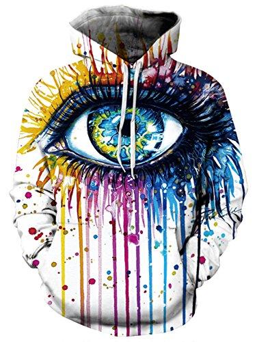 Polyester Auge (BFUSTYLE Unisex 3D Weihnachten Lustige Hoodie Bunte Malerei Auge Kapuzen Sweatshirt Pullover Hoodies mit großen Taschen)