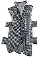 #971 Damen Designer Jacke Bolero Jäckchen Blazer Punkte Cardigan Strickjacke Schwarz Weiss 34 36 38 Onesize