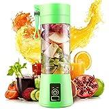 Exprimidor Eléctrico USB Juicer Licuadora Taza de Jugo Máquina de Exprimidor de Botellas de Agua de 400 ml Con 4 Cuchillas, Batería Recargable de 1000 mAh (Green)
