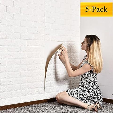 Motif 3d Brique Stickers muraux solide en mousse Autocollant de papier peint pour chambre d'enfant Salon anticollision de salle de bain balcon TV au sol, 59,9x 59,9cm, Lot de 5