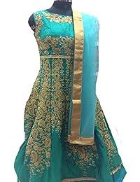 Eid Muslim Hijab Green Women Dress Ready to Wear Indian Ethnic Party Wear Wedding Ceremony Anarkali Salwar Kameez Suit 8805