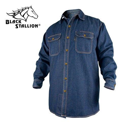 Denim Long Sleeve Work Shirt (Revco FS8-DNM 8 oz. FR Cotton/Denim Long Sleeve Work Shirt, Medium by Revco)