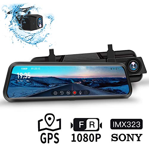 "Dash Cam, DuDuBell 10"" Mirror Dash Cam, SONY IMX323 Dual Dash Cam (1080P + 1080P) with Starlight Night Vision (F1.4 Aperture, HDR Plus), GPS Included, IPS Touch Screen, IP68 Backup Camera"