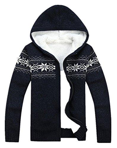 Herren Strickpullover Strickpulli Strickjacke mit Kapuze Pullover Freizeit in 3Farben Blau
