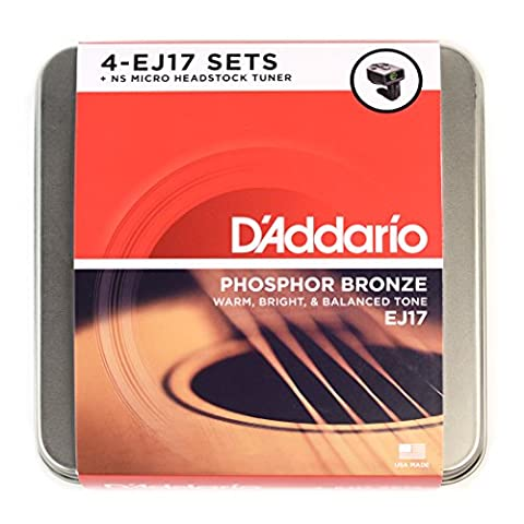 D'Addario EJ17 Acoustic Guitar Tin String with NS Micro Tuner (Set of 4)